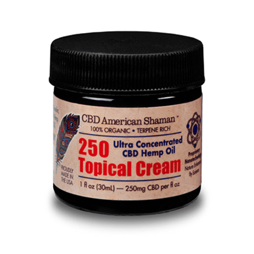 Small, dark container of CBD topical Cream.