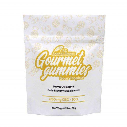White bag of Sour Tropical CBD gummies.