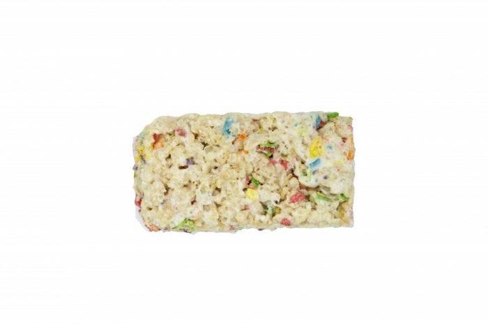 One piece of CBD infused Rice Krispy Treat with rainbow flakes.