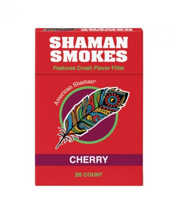 Small red box of cherry flavored hemp cigarettes.