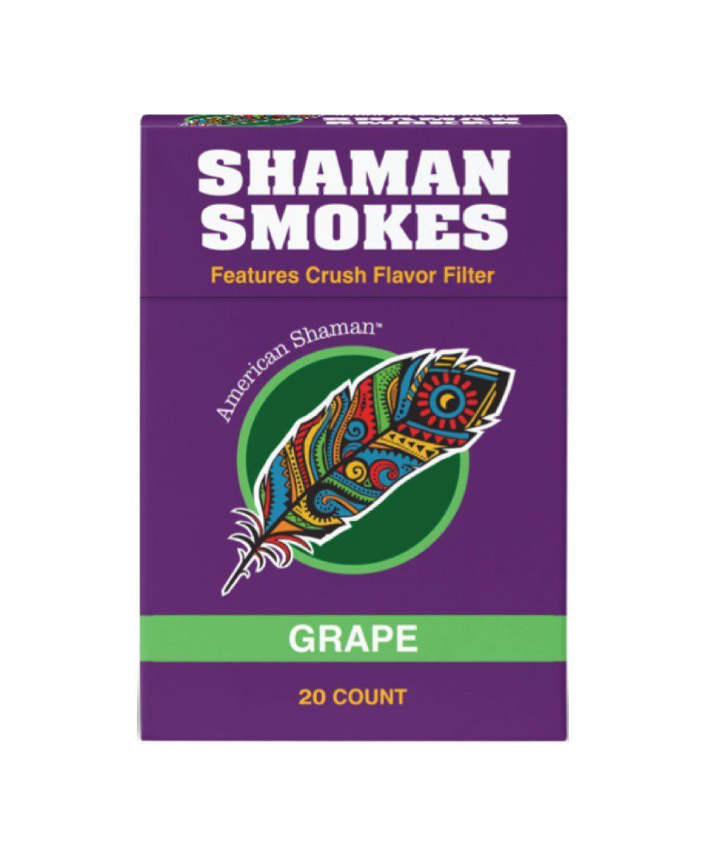 Small purple box of Grape flavored hemp cigarettes.