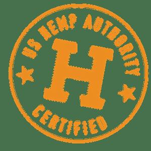 Orange Hemp Authority seal, H with circle.