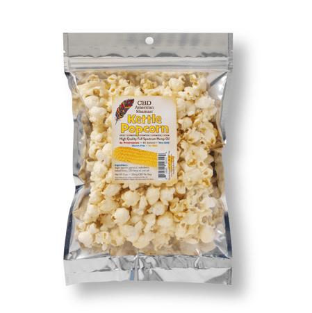 Small bag of hemp infused kettle popcorn.